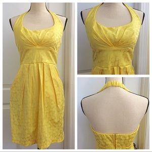B Darlin Yellow Dot Halter Dress
